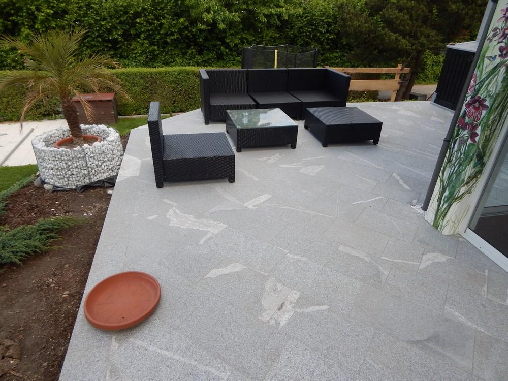 Terrasse Poolumrandung Und Eingang Von Stein Wir Verlegen - Granitfliesen legen